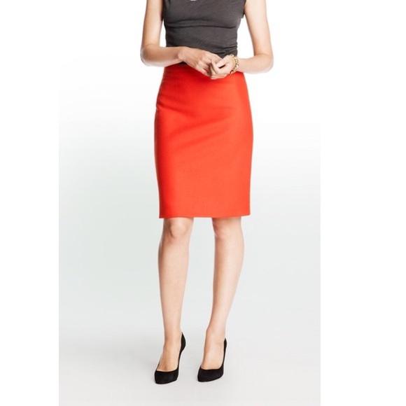 631bd14a1 J. Crew Factory Skirts | Jcrew Doubleserge Wool Orange Pencil Skirt ...